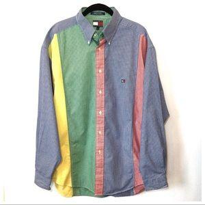 Tommy Hilfiger Gingham Color Block Button Down L